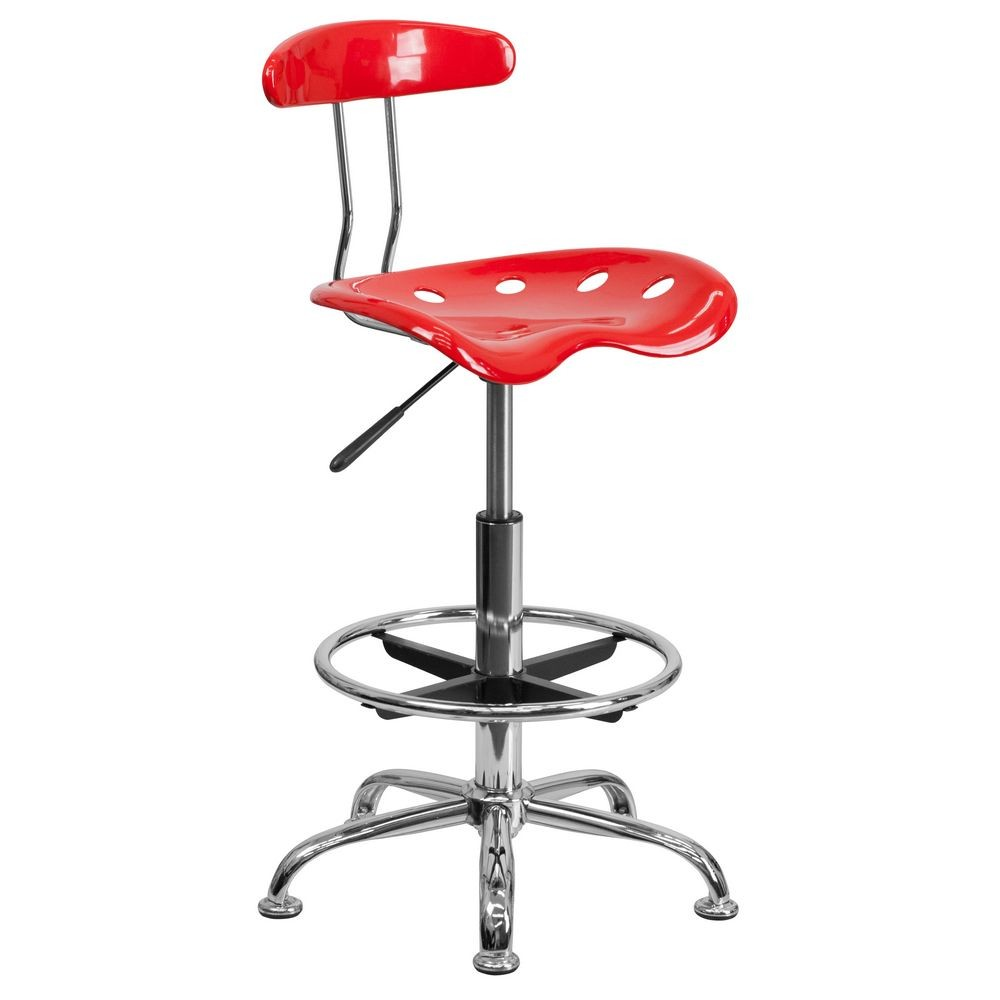 Flash Furniture LF-215-RED-GG Vibrant Red and Chrome Drafting Stool with Tractor Seat