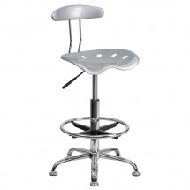 Flash Furniture LF-215-SILVER-GG Vibrant Silver and Chrome Drafting Stool with Tractor Seat