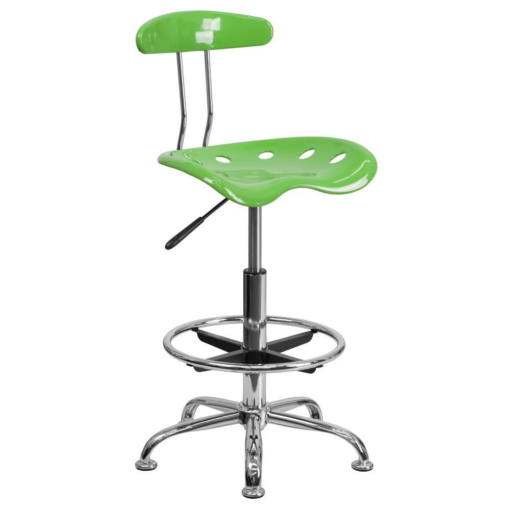 Flash Furniture LF-215-SPICYLIME-GG Vibrant Spicy Lime and Chrome Drafting Stool with Tractor Seat