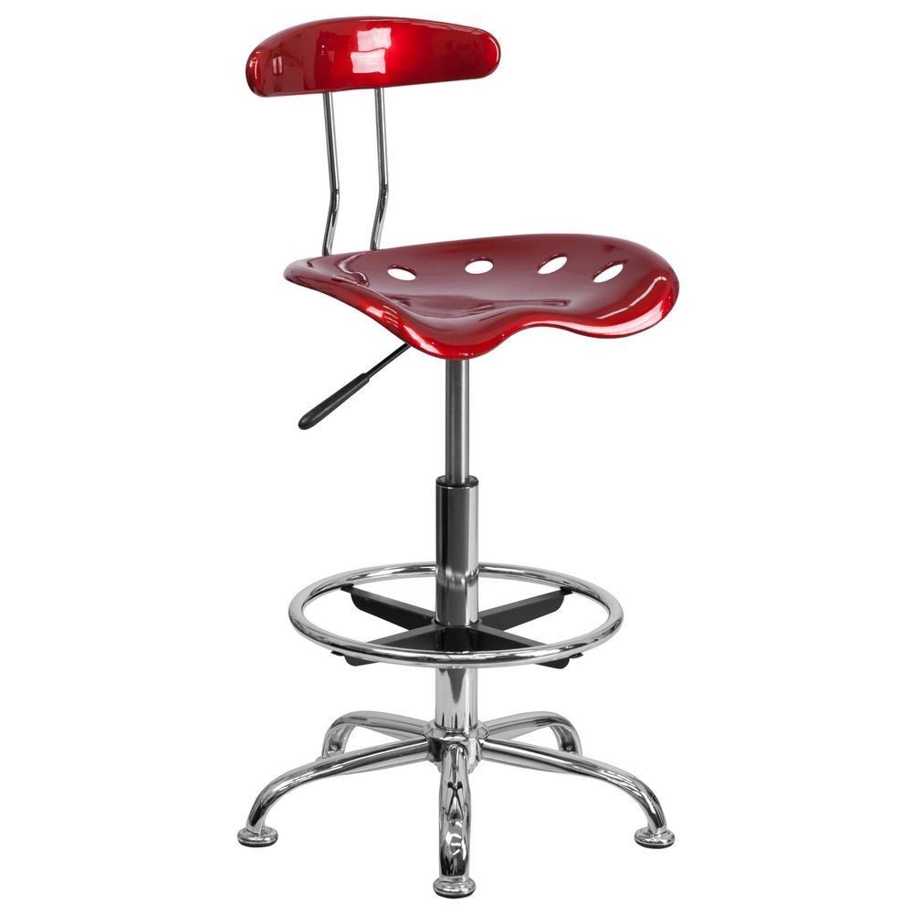 Flash Furniture LF-215-WINERED-GG Vibrant Wine Red and Chrome Drafting Stool with Tractor Seat