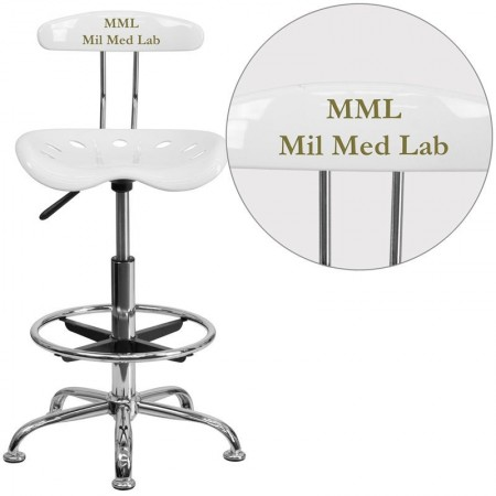 Flash Furniture LF-215-White-GG Vibrant White and Chrome Drafting Stool with Tractor Seat
