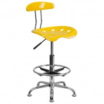 Flash Furniture LF-215-YELLOW-GG Vibrant Orange-Yellow and Chrome Drafting Stool with Tractor Seat