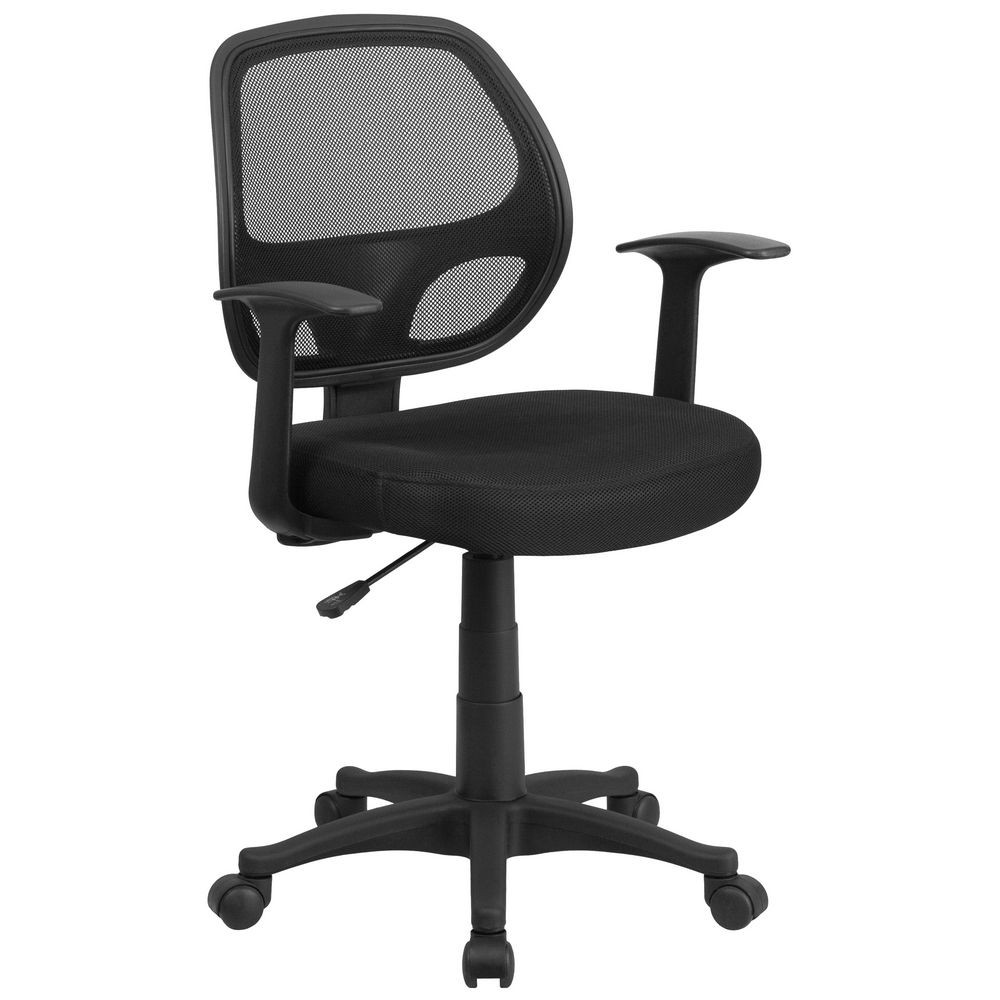 Flash Furniture LF-W-118A-BK-GG Mid-Back Black Mesh Computer Chair