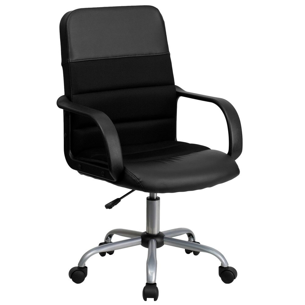 Flash Furniture LF-W-61B-2-GG Black Mid-Back Mesh and Leather Chair