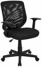 Flash Furniture LF-W-95A-BK-GG Mid-Back Black Mesh Ececutive Chair with Mesh Fabric Seat
