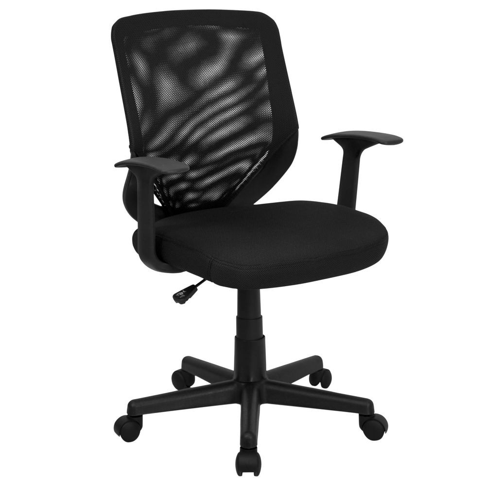 Flash Furniture LF-W-95A-BK-GG Mid-Back Black Mesh Office Chair with Mesh Fabric Seat