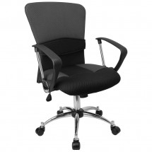 Flash Furniture LF-W23-GREY-GG Mid-Back Grey Mesh Office Chair