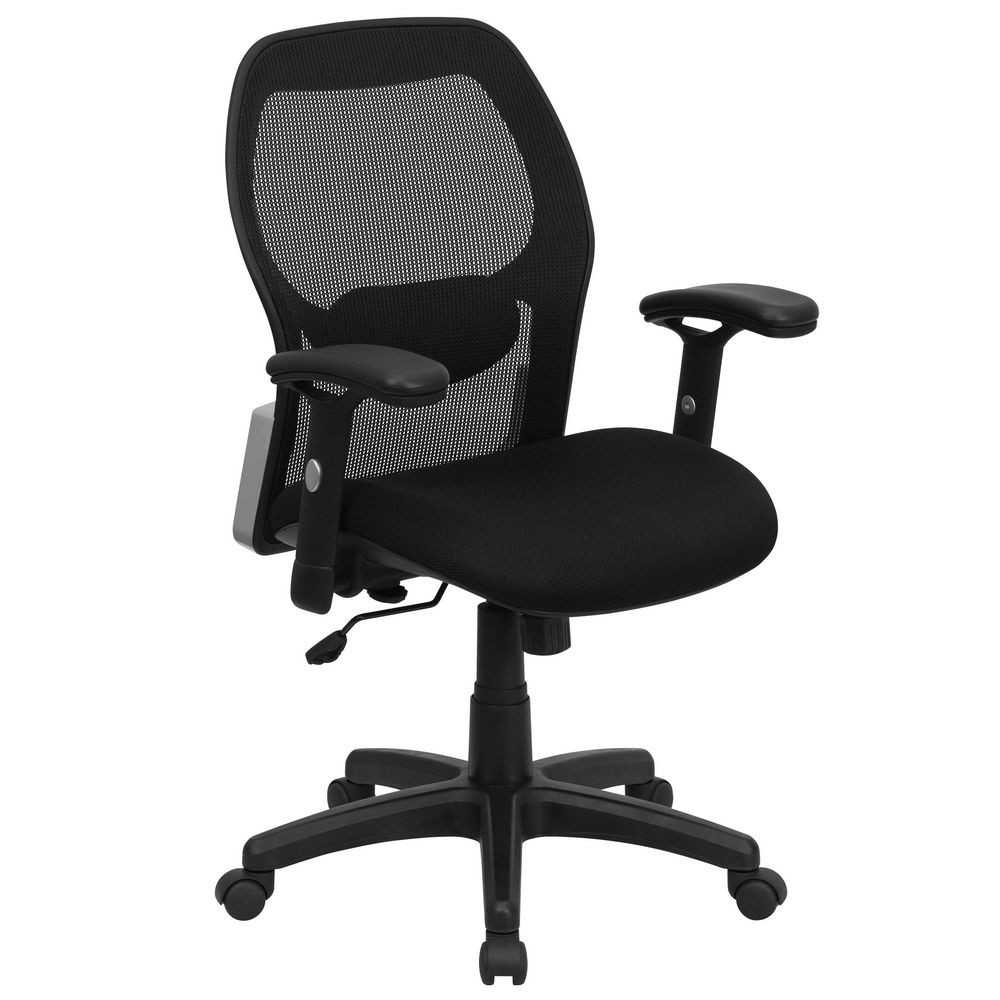 Flash Furniture LF-W42B-GG Mid-Back Super Mesh Office Chair with Black Fabric Seat