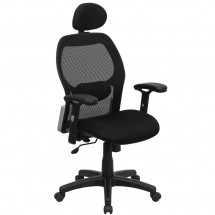 Flash Furniture LF-W42B-HR-GG High Back Super Mesh Office Chair with Black Fabric Seat