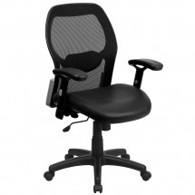 Flash Furniture LF-W42B-L-GG Mid-Back Super Mesh Office Chair with Black Italian Leather Seat