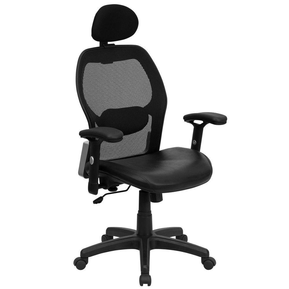 Flash Furniture LF-W42B-L-HR-GG High Back Super Mesh Office Chair with Black Italian Leather Seat