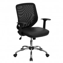Flash Furniture LF-W95-LEA-BK-GG Mid-Back Black Office Chair with Mesh Back and Italian Leather Seat