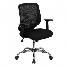 Flash Furniture LF-W95-MESH-BK-GG Mid-Back Black Mesh Office Chair with Mesh Fabric Seat