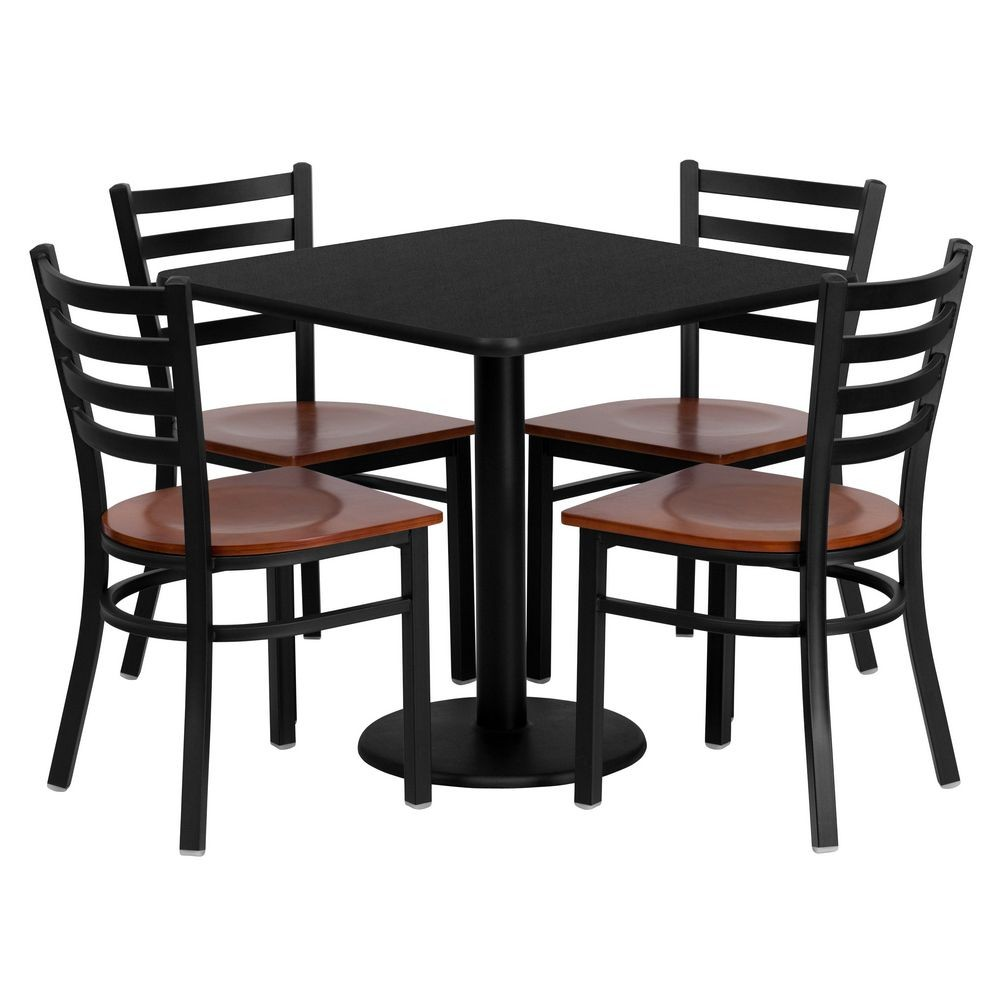Flash Furniture MD-0003-GG Square Black Laminate Table Set with 4 Ladder Back Metal Chairs 30&quot ; - Cherry Wood Seat