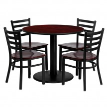 "Flash Furniture MD-0004-GG Round Mahogany Laminate Table Set with 4 Ladder Back Metal Chairs 36"" - Mahogany Wood Seat"