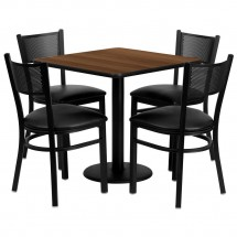 "Flash Furniture MD-0005-GG Square Walnut Laminate Table Set with 4 Grid Back Metal Chairs 30"" - Black Vinyl Seat"
