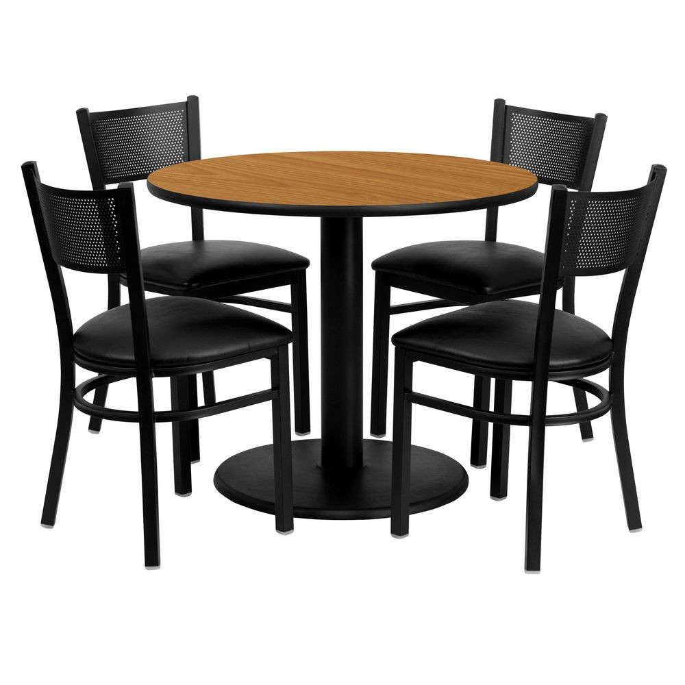 "Flash Furniture MD-0006-GG Round Natural Laminate Table Set with 4 Grid Back Metal Chairs 36"" - Black Vinyl Seat"