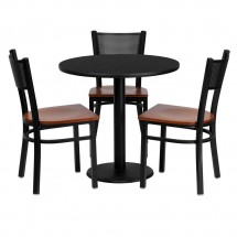 "Flash Furniture MD-0007-GG Round Black Laminate Table Set with 3 Grid Back Metal Chairs 30"" - Cherry Wood Seat"