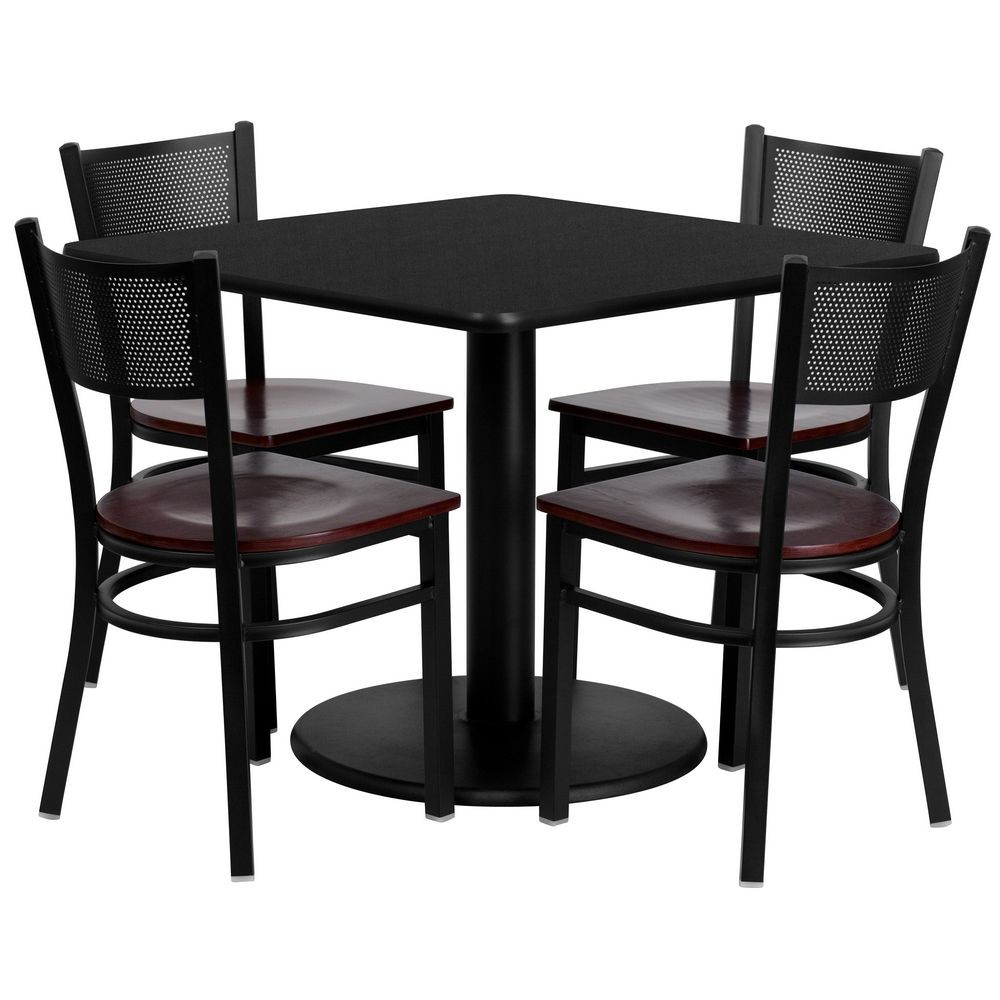 "Flash Furniture MD-0008-GG Square Black Laminate Table Set with 4 Grid Back Metal Chairs 36"" - Mahogany Wood Seat"