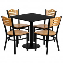 "Flash Furniture MD-0010-GG Square Black Laminate Table Set with 4 Wood Slat Back Metal Chairs 30"" - Natural Wood Seat"