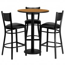 "Flash Furniture MD-0016-GG Round Natural Laminate Table Set with 3 Grid Back Metal Bar Stools 30"" - Black Vinyl Seat"