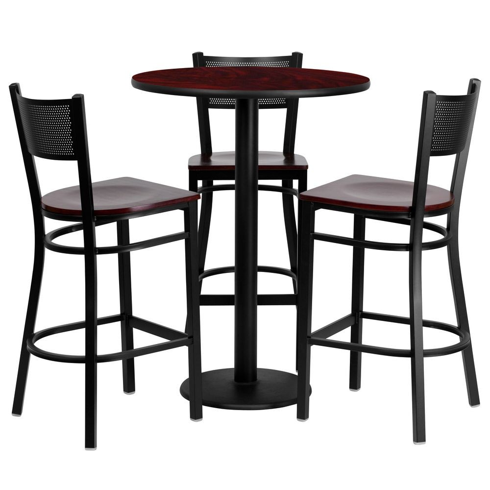 "Flash Furniture MD-0017-GG Round Mahogany Laminate Table Set with 3 Grid Back Metal Bar Stools 3"" - Mahogany Wood Seat"