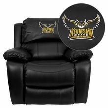 Flash Furniture MEN-DA3439-91-BK-41041-EMB-GG Kennesaw State University Owls Embroidered Black Leather Rocker Recliner