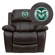 Flash Furniture MEN-DA3439-91-BRN-40011-EMB-GG Colorado State University Rams Embroidered Brown Leather Rocker Recliner