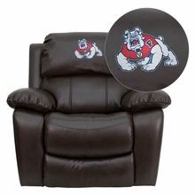 Flash Furniture MEN-DA3439-91-BRN-40012-EMB-GG Fresno State University Bulldogs Embroidered Brown Leather Rocker Recliner