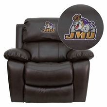 Flash Furniture MEN-DA3439-91-BRN-40015-EMB-GG James Madison University Dukes Embroidered Brown Leather Rocker Recliner