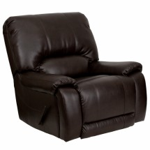 Flash Furniture MEN-DSC01029-BRN-GG OverStuffed Brown Leather Lever Rocker Recliner
