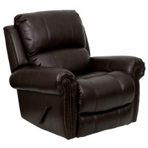 Flash Furniture MEN-DSC01072-BRN-GG Plush Brown Leather Rocker Recliner