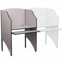 Flash Furniture MT-M6201-GY-GG Starter Study Carrel in Nebula Grey Finish
