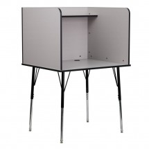 Flash Furniture MT-M6221-GREY-GG Study Carrel with Adjustable Legs and Top Shelf in Nebula Grey Finish