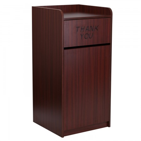 Flash Furniture MT-M8520-TRA-MAH-GG Wood Tray Top Mahogany Finish Trash Receptacle