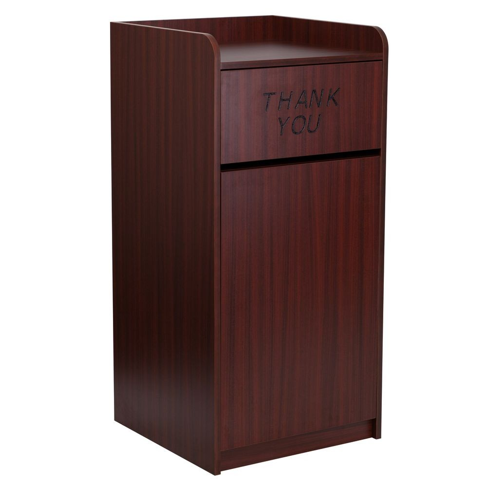 Flash Furniture MT M8520 TRA MAH GG Wood Tray Top Mahogany Finish Trash  Receptacle