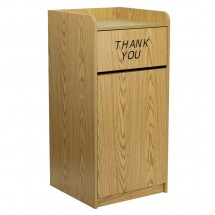Flash Furniture MT-M8520-TRA-OAK-GG Wood Tray Top Oak Finish Trash Receptacle