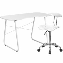 Flash Furniture NAN-10LF-GG White Computer Desk and Tractor Chair