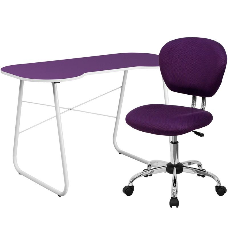 Flash Furniture NAN-13-GG Purple Computer Desk and Mesh Chair