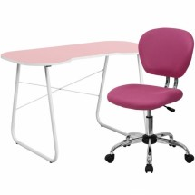 Flash Furniture NAN-15-GG Pink Computer Desk and Mesh Chair