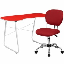 Flash Furniture NAN-16-GG Red Computer Desk and Mesh Chair