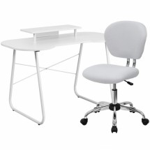 Flash Furniture NAN-2-GG White Computer Desk with Monitor Stand and Mesh Chair