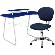 Flash Furniture NAN-3-GG Navy Computer Desk with Monitor Stand and Mesh Chair