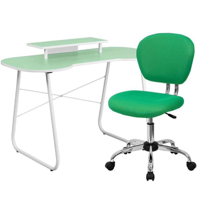 Flash Furniture NAN-4-GG Green Computer Desk with Monitor Stand and Mesh Chair