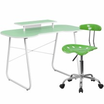 Flash Furniture NAN-4LF-GG Green Computer Desk with Monitor Stand and Tractor Chair