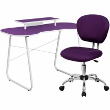 Flash Furniture NAN-5-GG Purple Computer Desk with Monitor Stand and Mesh Chair