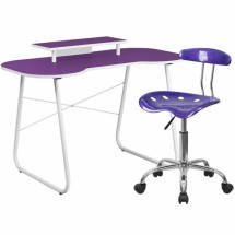 Flash Furniture NAN-5LF-GG Purple Computer Desk with Monitor Stand and Tractor Chair