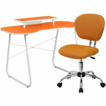 Flash Furniture NAN-6-GG Orange Computer Desk with Monitor Stand and Mesh Chair