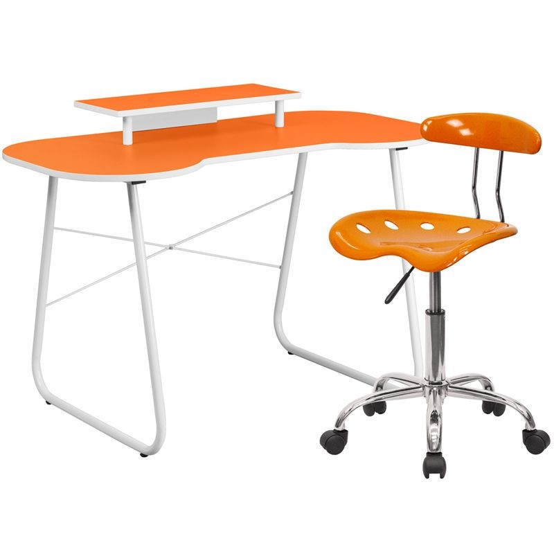Flash Furniture NAN-6LF-GG Orange Computer Desk with Monitor Stand and Tractor Chair