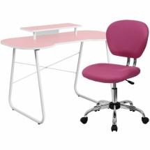Flash Furniture NAN-7-GG Pink Computer Desk with Monitor Stand and Mesh Chair